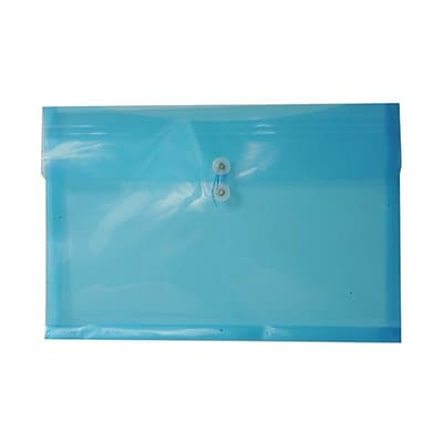 JAM Paper® Plastic Envelopes with Button and String Tie Closure, Booklet, 12 x 18, Blue Poly, 12/pack (457B1BU)