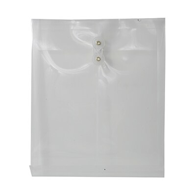 JAM Paper® Plastic Envelopes with Button and String Tie Closure, Letter Open End, 9.75 x 11.75, Clear Poly, 12/pack (118B1CL)