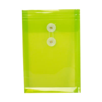 JAM Paper® Plastic Envelopes with Button and String Tie Closure, Open End, 6.25 x 9.25, Lime Green Poly, 120/carton (472B1LIB)