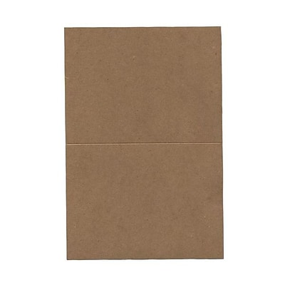 JAM Paper® Blank Foldover Cards, A6 size, 4 5/8 x 6 1/4, Brown Kraft Paper Bag Recycled, 25/pack (530910831)