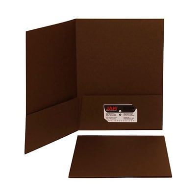 JAM Paper® Premium Paper Cardstock Two Pocket Presentation Folders, Chocolate Brown, 6/pack (233722D)