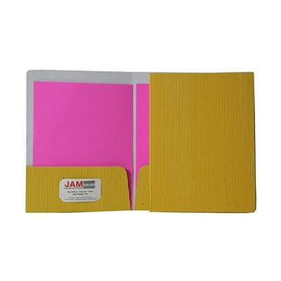 JAM Paper® Corrugated Fluted Folders, Yellow, 6/Pack (87499D)