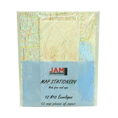 JAM Paper® #10 Business Stationery Set, 4.125 x 9.5, Assorted Map Designs, 12/Pack (2237118950)