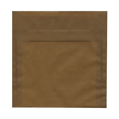 JAM Paper® 8 x 8 Square Translucent Vellum Invitation Envelopes, Earth Brown, 25/Pack (E856576)