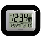 La Crosse Technology Digital Atomic Wall Clock with Temperature, Black (WS-8115U-B)