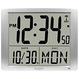 La Crosse Digital Wall Clock, Silver