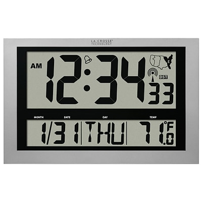 La Crosse Technology Jumbo Atomic Digital Wall Clock with Indoor Temperature (513-1211)