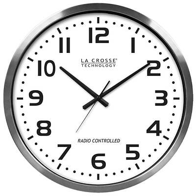 La Crosse® Technology 20 Atomic Metal Analog Wall Clock, Silver (404-1220)