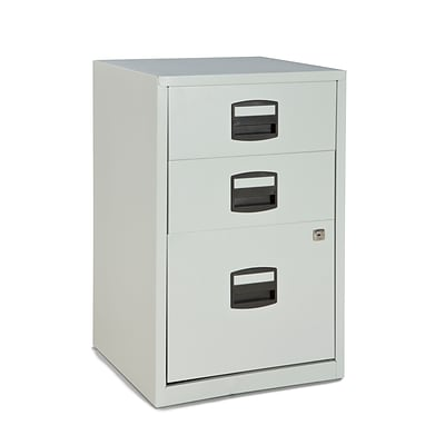 Bisley® Three Drawer Steel Home Filing Cabinet, Light Gray