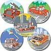 SmileMakers® Fire Trucks Stickers, 2-1/2H x 2-1/2W, 100/Roll