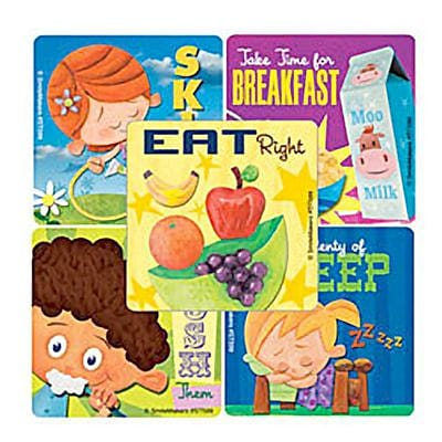 SmileMakers® Healthy Habits Kids Stickers, 2-1/2H x 2-1/2W, 100/Roll