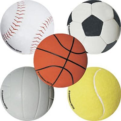 SmileMakers® Sports Ball Stickers, 2-1/2H x 2-1/2W, 100/Box