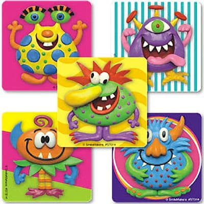 SmileMakers® Clay Monsters Stickers, 2-1/2H x 2-1/2W, 100/Roll