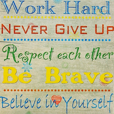 Diamond Decor Work Hard Typography Canvas Art, 15 x 15