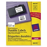 Avery® 6576 White Durable I.D. Labels; Laser, 1-1/4 x 1-3/4, 1600/Box