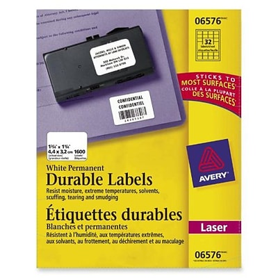 Avery® Permanent Durable ID Labels, 1-1/4 x 1-3/4, Laser, White, 1,600/Pack (6576)
