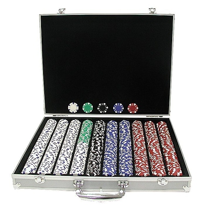 Trademark Poker™ 1000 Dice-Striped Poker Chips With Aluminum Case, Brilliant Silver