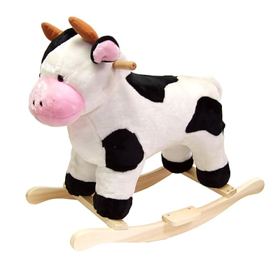 Happy Trails Plush Rocking Cow, White/Black/Pink (886511219885)