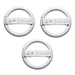 GameFitz GF-1018-3 Steering Wheel For Nintendo Wii; White, 3 Pack