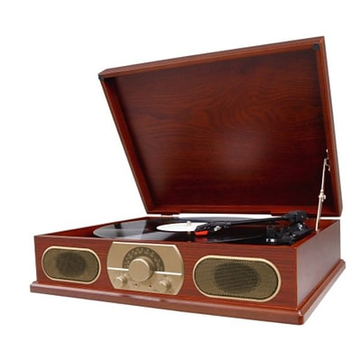 Studebaker SB6052 Wooden Turntable With AM/FM Radio and Cassette Player,  33/45/78 RPM