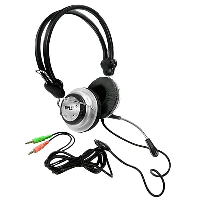 Pyle® PHPMC2 Stereo PC Multimedia Headset/Microphone,  Black/Silver