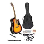 Pyle® 41 Acoustic-Electric Guitar Package With Gig Bag/Strap/Picks/Tuner and Strings;  Sunburst