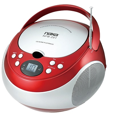 Naxa® NPB-251 Portable CD Player With AM/FM Stereo Radio,  Red