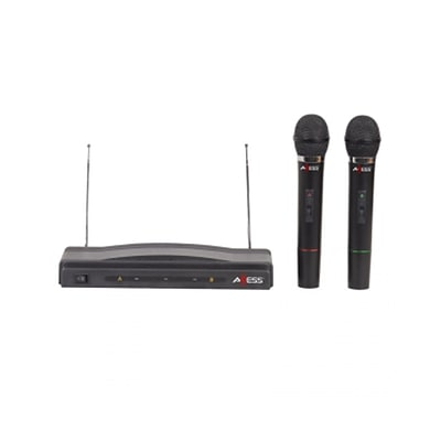 Axess® MPWL1505 100 Range Dual Professional Handheld Wireless Microphone FM Receiver,  Black