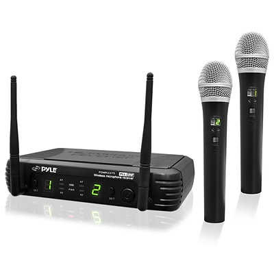 Pyle® PDWM3375 Premier Series Professional 2-Channel UHF Wireless Handheld Microphone System, Black