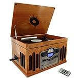 Back To The 50s TB-10103 Antique Wooden 3 Speed Turntable With CD Player,  33/45/78 RPM