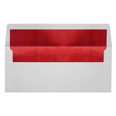 LUX® 60lbs. 4 1/8 x 9 1/2 #10 Business Envelopes W/Peel & Press, White/Red LUX, 250/BX
