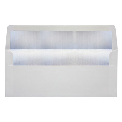 LUX® 4 1/8 x 9 1/2 #10 60lbs. Envelopes, White With Silver LUX Lining, 50/Pack