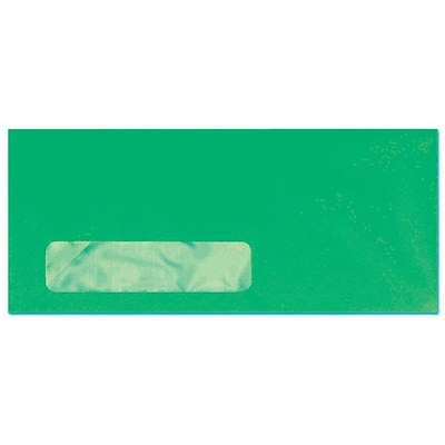 LUX® #10 (4 1/8 x 9 1/2) Window Envelopes, Bright Green, 500/BX