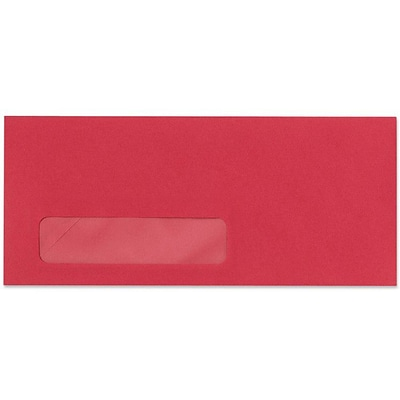 LUX® #10 (4 1/8 x 9 1/2) Window Envelopes, Holiday Red, 500/BX
