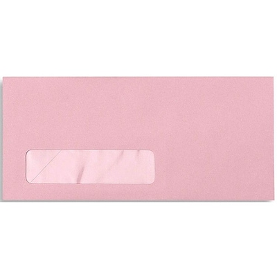LUX® 4 1/8 x 9 1/2 #10 Window Envelopes, Pastel Pink, 50/Pack