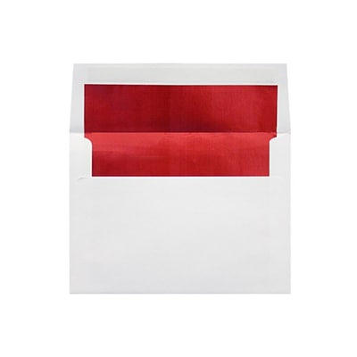 LUX 6 1/2 x 6 1/2 Foil Lined Square Envelopes 500/Box) 500/Box, White w/Red LUX Lining (FLWH8535-01-500)