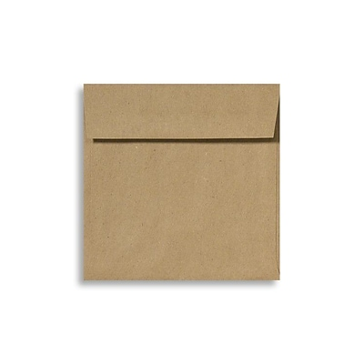 70 lb 5 3/4 x 5 3/4 Peel & Press Square Envelopes, Grocery Bag Brown, 500/Box