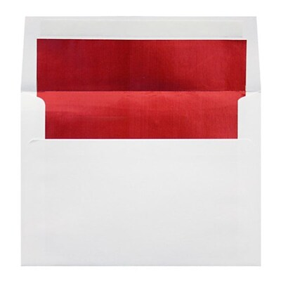 LUX® 60lbs. 4 3/8 x 5 3/4 A2 Square Flap Envelopes, White With Red LUX Lining, 1000/BX