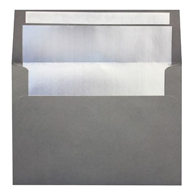 LUX A4 Foil Lined Invitation Envelopes (4 1/4 x 6 1/4) 250/Box, Smoke w/Silver LUX Lining (FLSM4872-03-250)