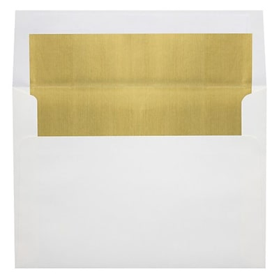 LUX A6 Foil Lined Invitation Envelopes (4 3/4 x 6 1/2) 50/Box, White w/Gold LUX Lining (FLWH4875-04-50)