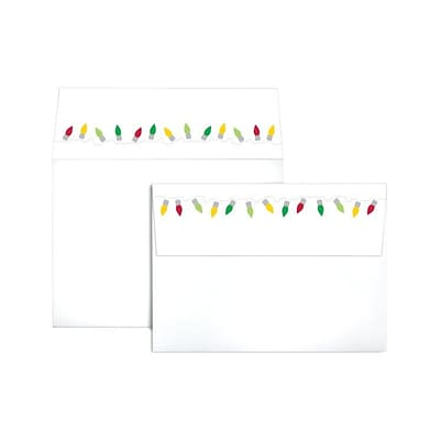 LUX A7 Colorflaps Envelopes (5 1/4 x 7 1/4) 1000/Box, Christmas Lights (CF4880-96-1000)