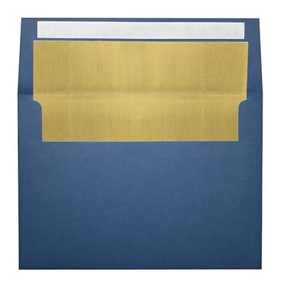 LUX® 80lbs. 5 1/4 x 7 1/4 A7 Invitation Envelopes W/Peel & Press, Navy Blue/Gold, 1000/BX
