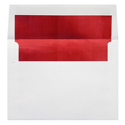 LUX A7 Foil Lined Invitation Envelopes (5 1/4 x 7 1/4) 250/Box, White w/Red LUX Lining (FLWH4880-01-250)