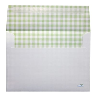 LUX® 70lbs. 5 1/4 x 7 1/4 A7 Invitation Envelopes W/Peel & Press, Green Gingham, 1000/BX