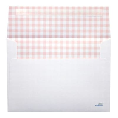 LUX® 5 1/4 x 7 1/4 70lbs. Square Flap A7 Envelopes W/Peel & Press, Pink Gingham