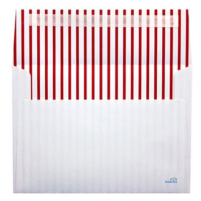LUX® 70lbs. 5 1/4 x 7 1/4 A7 Invitation Envelopes W/Peel & Press, Red Lines, 1000/BX