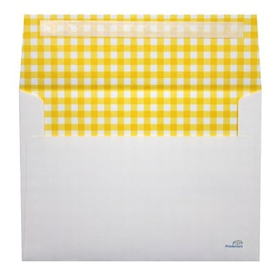 LUX® 70lb 5 1/4x7 1/4 A7 Invitation Envelopes W/Peel&Press, Yellow Gingham, 500/BX
