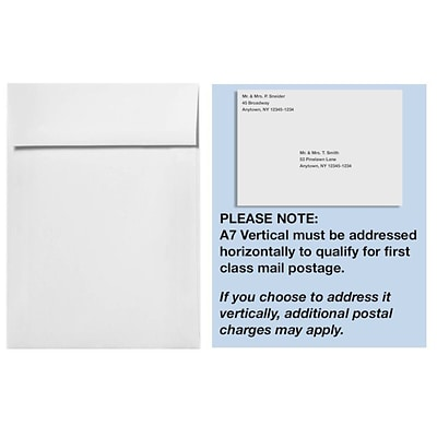 LUX® 70lb 7 1/4x5 1/4 A7 Vertical Envelopes W/Peel&Press, Bright White, 1000/BX
