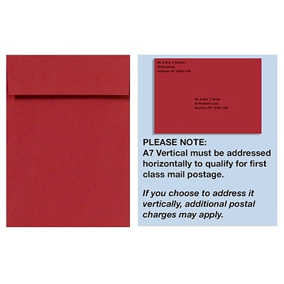 LUX® 7 1/4 x 5 1/4 80lbs. Vellum A7 Invitation Envelopes W/Peel & Press, Ruby Red