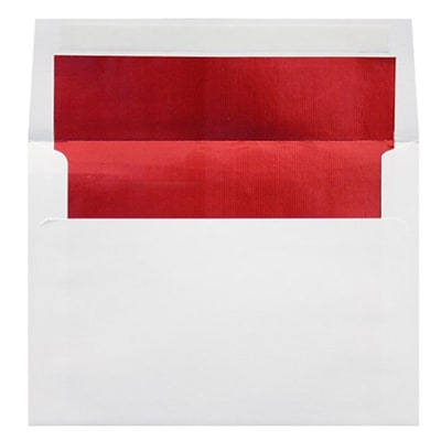 LUX A8 Foil Lined Invitation Envelopes (5 1/2 x 8 1/8) 50/Box, White w/Red LUX Lining (FLWH4885-01-50)
